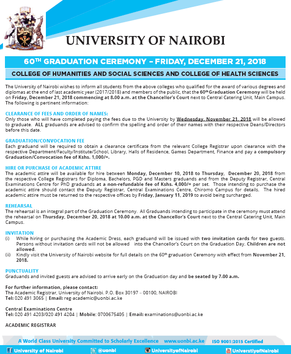 Graduation   UNIVERSITY OF NAIROBI